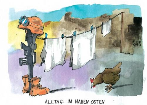 Cartoon: Alltag im Irak (medium) by Kostas Koufogiorgos tagged irak,krieg,usa,irak,krieg,usa,alltag,wäsche,waffen,panzer,ausrüstung,huhn,wäscheleine