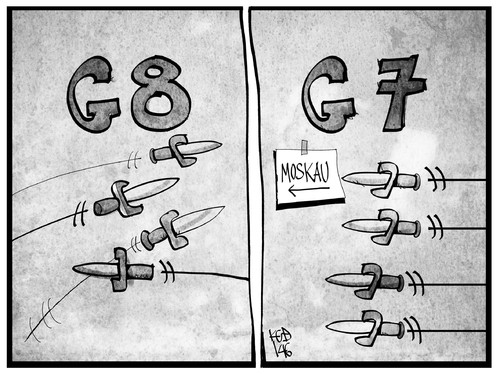 Cartoon: Aus G8 wird G7 (medium) by Kostas Koufogiorgos tagged putin,moskau,gipfel,politik,dolch,messer,streit,g7,g8,cartoon,illustration,koufogiorgos,karikatur,karikatur,koufogiorgos,illustration,cartoon,g8,g7,streit,messer,dolch,politik,gipfel,moskau,putin