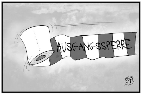 Cartoon: Ausgangssperre (medium) by Kostas Koufogiorgos tagged karikatur,koufogiorgos,illustration,cartoon,ausgangssperre,klopapier,schranke,corona,virus,pandemie,krankheit,karikatur,koufogiorgos,illustration,cartoon,ausgangssperre,klopapier,schranke,corona,virus,pandemie,krankheit