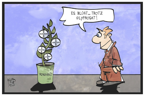 Cartoon: Bayer-Monsanto (medium) by Kostas Koufogiorgos tagged karikatur,koufogiorgos,illustration,cartoon,bayer,monsanto,strauch,logo,wirtschaft,frucht,blühen,industrie,chemie,saatgut,glyphosat,karikatur,koufogiorgos,illustration,cartoon,bayer,monsanto,strauch,logo,wirtschaft,frucht,blühen,industrie,chemie,saatgut,glyphosat