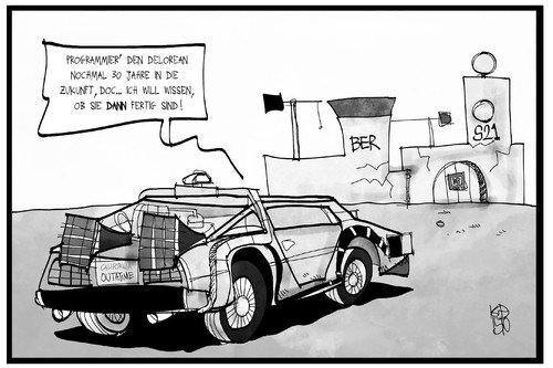 Cartoon: BER und S21 (medium) by Kostas Koufogiorgos tagged karikatur,koufogiorgos,illustration,cartoon,ber,s21,stuttgart,bahnhof,flughafen,grossprojekt,delorean,mcfly,zukunft,zeitmaschine,vision,berlin,baustelle,infrastruktur,bahn,karikatur,koufogiorgos,illustration,cartoon,ber,s21,stuttgart,bahnhof,flughafen,grossprojekt,delorean,mcfly,zukunft,zeitmaschine,vision,berlin,baustelle,infrastruktur,bahn
