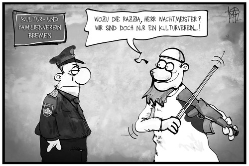 Cartoon: Bremer Salafisten (medium) by Kostas Koufogiorgos tagged musik,bremen,polizei,polizist,salfaist,kuf,cartoon,illustration,koufogiorgos,karikatur,religion,politik,razzia,islamismus,extremismus,verein,familie,kultur,karikatur,koufogiorgos,illustration,cartoon,kuf,salfaist,polizist,polizei,bremen,musik,kultur,familie,verein,extremismus,islamismus,razzia,politik,religion