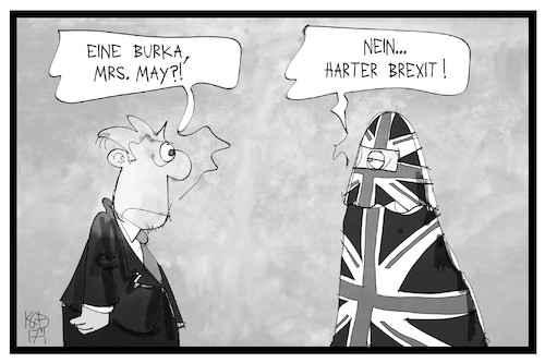 Cartoon: Brexit (medium) by Kostas Koufogiorgos tagged karikatur,koufogiorgos,illustration,cartoon,brexit,may,grossbritannien,burka,radikal,flagge,fahne,union,jack,premierminsterin,politik,europa,abschottung,karikatur,koufogiorgos,illustration,cartoon,brexit,may,grossbritannien,burka,radikal,flagge,fahne,union,jack,premierminsterin,politik,europa,abschottung