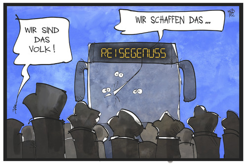 Cartoon: Clausnitz (medium) by Kostas Koufogiorgos tagged karikatur,koufogiorgos,illustration,cartoon,clausnitz,sachsen,neonazi,fremdenfeindlichkeit,willkommenskultur,fluechtlinge,bus,reisegenuss,demonstration,parole,karikatur,koufogiorgos,illustration,cartoon,clausnitz,sachsen,neonazi,fremdenfeindlichkeit,willkommenskultur,fluechtlinge,bus,reisegenuss,demonstration,parole