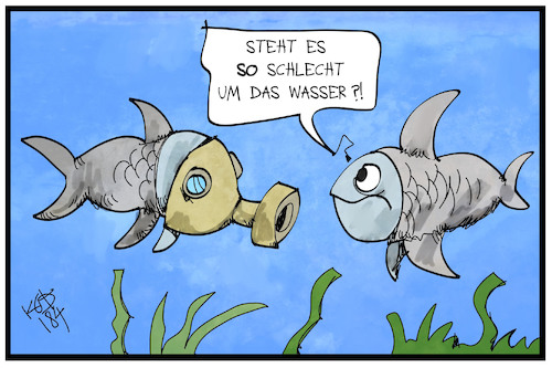 Cartoon: Deutsche Gewässer (medium) by Kostas Koufogiorgos tagged karikatur,koufogiorgos,illustration,cartoon,wasser,fluss,qualität,umwelt,verschmutzung,gewässer,fisch,atemmaske,umweltschutz,karikatur,koufogiorgos,illustration,cartoon,wasser,fluss,qualität,umwelt,verschmutzung,gewässer,fisch,atemmaske,umweltschutz