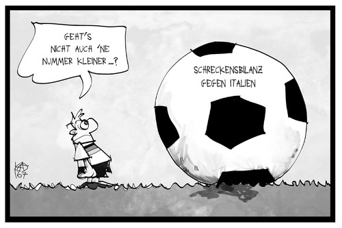 Cartoon: Deutschland vs. Italien (medium) by Kostas Koufogiorgos tagged karikatur,koufogiorgos,illustration,cartoon,deutschland,italien,dfb,em,europameisterschaft,ball,fussball,angstgegner,bilanz,nationalmannschaft,karikatur,koufogiorgos,illustration,cartoon,deutschland,italien,dfb,em,europameisterschaft,ball,fussball,angstgegner,bilanz,nationalmannschaft