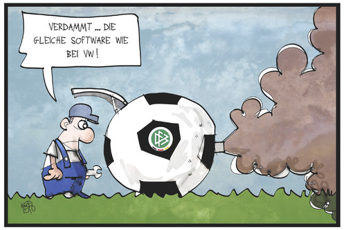 Cartoon: DFB-Gate (medium) by Kostas Koufogiorgos tagged karikatur,koufogiorgos,illustration,cartoon,dfb,fussball,bund,verband,vw,motor,abgas,gestank,mechaniker,korruption,betrug,dieselgate,dfbgate,sport,karikatur,koufogiorgos,illustration,cartoon,dfb,fussball,bund,verband,vw,motor,abgas,gestank,mechaniker,korruption,betrug,dieselgate,dfbgate,sport