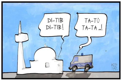 Cartoon: Ditib (medium) by Kostas Koufogiorgos tagged karikatur,koufogiorgos,illustration,cartoon,ditib,spionage,muezzin,minarett,moschee,polizei,razzia,islam,religion,karikatur,koufogiorgos,illustration,cartoon,ditib,spionage,muezzin,minarett,moschee,polizei,razzia,islam,religion