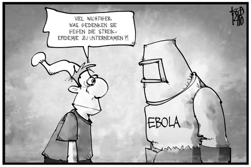 Cartoon: Ebola und Streik (medium) by Kostas Koufogiorgos tagged karikatur,koufogiorgos,illustration,cartoon,michel,ebola,streik,epidemie,krankheit,virus,politik,gesundheit,karikatur,koufogiorgos,illustration,cartoon,michel,ebola,streik,epidemie,krankheit,virus,politik,gesundheit