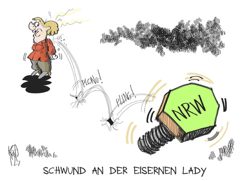 Cartoon: Eiserne Lady (medium) by Kostas Koufogiorgos tagged eiserne,lady,iron,schraube,nrw,wahl,cdu,nordrhein,westfalen,landtag,karikatur,kostas,koufogiorgos,eiserne lady,nordrhein westfalen,landtag,nrw,merkel,eiserne,lady,nordrhein,westfalen