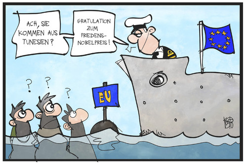 Cartoon: Friedensnobelpreis (medium) by Kostas Koufogiorgos tagged karikatur,koufogiorgos,illustration,cartoon,tunesien,flüchtlinhe,schiff,meer,rettung,eu,europa,seenot,friedensnobelpreis,gratulation,grenze,karikatur,koufogiorgos,illustration,cartoon,tunesien,flüchtlinhe,schiff,meer,rettung,eu,europa,seenot,friedensnobelpreis,gratulation,grenze