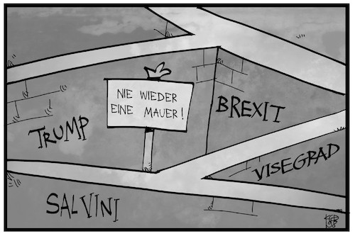 Cartoon: Gedenken an die Mauer (medium) by Kostas Koufogiorgos tagged karikatur,koufogiorgos,illustration,cartoon,mauer,berlin,gedenken,trump,brexit,salvini,visegrad,trennen,separatismus,grenze,abgrenzung,karikatur,koufogiorgos,illustration,cartoon,mauer,berlin,gedenken,trump,brexit,salvini,visegrad,trennen,separatismus,grenze,abgrenzung