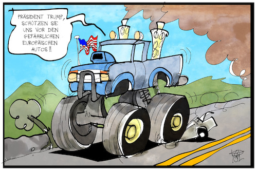 Cartoon: Gefahr durch Autos (medium) by Kostas Koufogiorgos tagged karikatur,koufogiorgos,illustration,cartoon,trump,auto,usa,angst,schutz,umweltverschmutzung,abgas,bigfoot,truck,autoindustrie,karikatur,koufogiorgos,illustration,cartoon,trump,auto,usa,angst,schutz,umweltverschmutzung,abgas,bigfoot,truck,autoindustrie
