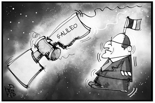 Cartoon: Hollande lost in space (medium) by Kostas Koufogiorgos tagged karikatur,koufogiorgos,illustration,cartoon,hollande,galileo,satellit,frankreich,weltall,weltraum,orientierung,politik,präsident,navigation,karikatur,koufogiorgos,illustration,cartoon,hollande,galileo,satellit,frankreich,weltall,weltraum,orientierung,politik,präsident,navigation
