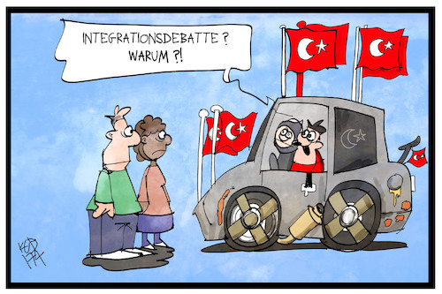 Cartoon: Integrationsdebatte (medium) by Kostas Koufogiorgos tagged karikatur,koufogiorgos,illustration,cartoon,integration,debatte,tuerkei,deutschland,fahne,flagge,patriotismus,karikatur,koufogiorgos,illustration,cartoon,integration,debatte,tuerkei,deutschland,fahne,flagge,patriotismus