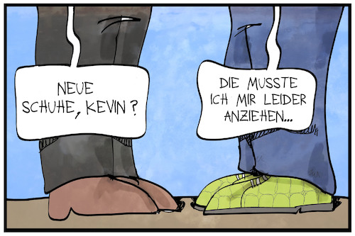 Cartoon: Kevins neue Schuhe 2 (medium) by Kostas Koufogiorgos tagged karikatur,koufogiorgos,illustration,cartoon,groko,grokodil,leder,schuhe,spd,abstimmung,sozialdemokraten,jusos,karikatur,koufogiorgos,illustration,cartoon,groko,grokodil,leder,schuhe,spd,abstimmung,sozialdemokraten,jusos