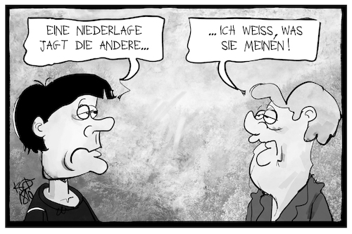 Cartoon: Löws Niederlage (medium) by Kostas Koufogiorgos tagged karikatur,koufogiorgos,illustration,cartoon,bundestrainer,bundeskanzlerin,löw,merkel,niederlage,wahl,sport,fussball,politik,demokratie,karikatur,koufogiorgos,illustration,cartoon,bundestrainer,bundeskanzlerin,löw,merkel,niederlage,wahl,sport,fussball,politik,demokratie