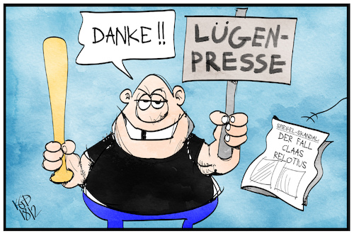 Cartoon: Lügenpresse (medium) by Kostas Koufogiorgos tagged karikatur,koufogiorgos,illustration,cartoon,claas,relotius,lügenpresse,journalismus,populismus,presse,medien,karikatur,koufogiorgos,illustration,cartoon,claas,relotius,lügenpresse,journalismus,populismus,presse,medien
