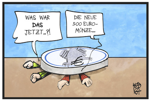 Cartoon: Münzgeld (medium) by Kostas Koufogiorgos tagged karikatur,koufogiorgos,illustration,cartoon,muenze,geld,euro,waehrung,gewicht,erschlagen,wirtschaft,kleingeld,hartgeld,münzgeld,karikatur,koufogiorgos,illustration,cartoon,muenze,geld,euro,waehrung,gewicht,erschlagen,wirtschaft,kleingeld,hartgeld,münzgeld