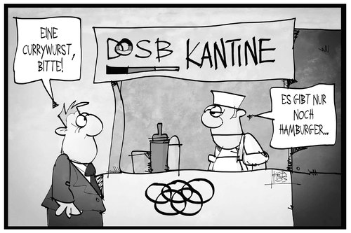 Cartoon: Olympische Spiel in Hamburg (medium) by Kostas Koufogiorgos tagged sport,spiele,olympische,dosb,berlin,currywurst,imbiss,kantine,hamburg,hamburger,olympia,cartoon,illustration,koufogiorgos,karikatur,koufogiorgos