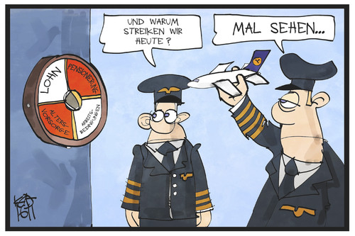 Cartoon: Pilotenstreik (medium) by Kostas Koufogiorgos tagged karikatur,koufogiorgos,illustration,cartoon,piloten,lufthansa,streik,dart,werfen,spiel,scheibe,flugzeug,willkür,arbeitskampf,karikatur,koufogiorgos,illustration,cartoon,piloten,lufthansa,streik,dart,werfen,spiel,scheibe,flugzeug,willkür,arbeitskampf