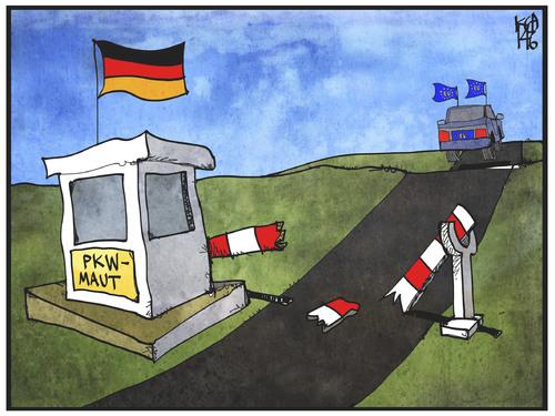 pkw maut by kostas koufogiorgos politics cartoon toonpool. Black Bedroom Furniture Sets. Home Design Ideas