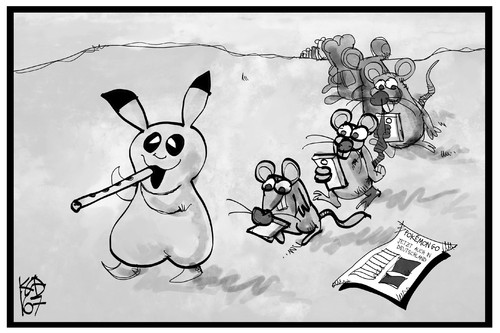 Cartoon: Pokemon Go (medium) by Kostas Koufogiorgos tagged karikatur,koufogiorgos,illustration,cartoon,pokemon,go,computer,spiel,handy,smartphone,nintendo,app,rattenfänger,user,spielen,virtuelle,realität,karikatur,koufogiorgos,illustration,cartoon,pokemon,go,computer,spiel,handy,smartphone,nintendo,app,rattenfänger,user,spielen,virtuelle,realität