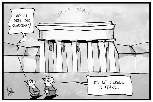 Cartoon: Quadriga in Athen (medium) by Kostas Koufogiorgos tagged karikatur,koufogiorgos,illustration,cartoon,quadriga,athen,berlin,griechenland,institutionen,ezb,esm,eu,iwf,schuldenkrise,europa,gläubiger,brandenburger,tor,wahrzeichen,denkmal,politik,karikatur,koufogiorgos,illustration,cartoon,quadriga,athen,berlin,griechenland,institutionen,ezb,esm,eu,iwf,schuldenkrise,europa,gläubiger,brandenburger,tor,wahrzeichen,denkmal,politik