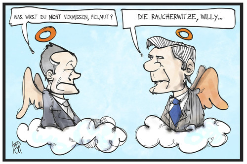 Cartoon: Raucherwitze (medium) by Kostas Koufogiorgos tagged karikatur,koufogiorgos,illustration,cartoon,helmut,schmidt,willy,brandt,himmel,paradies,rauchen,raucherwitz,engel,wolke,spd,karikatur,koufogiorgos,illustration,cartoon,helmut,schmidt,willy,brandt,himmel,paradies,rauchen,raucherwitz,engel,wolke,spd