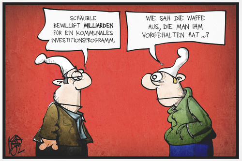 Cartoon: Schäuble investiert (medium) by Kostas Koufogiorgos tagged karikatur,koufogiorgos,illustration,cartoon,schäuble,geld,investition,waffe,michel,deutschland,erpressung,karikatur,koufogiorgos,illustration,cartoon,schäuble,geld,investition,waffe,michel,deutschland,erpressung