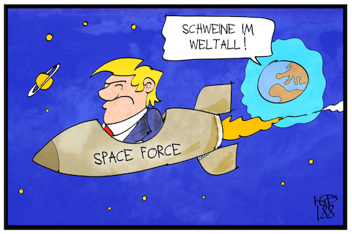 Cartoon: Schweine im Weltall (medium) by Kostas Koufogiorgos tagged karikatur,koufogiorgos,illustration,cartoon,muppets,schweine,weltall,trump,raumfahrt,space,force,usa,streitkräfte,armee,karikatur,koufogiorgos,illustration,cartoon,muppets,schweine,weltall,trump,raumfahrt,space,force,usa,streitkräfte,armee