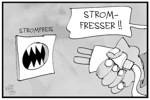 Cartoon: Strompreise (medium) by Kostas Koufogiorgos tagged karikatur,koufogiorgos,illustration,cartoon,strom,strompreis,verbraucher,energie,kosten,wirtschaft,karikatur,koufogiorgos,illustration,cartoon,strom,strompreis,verbraucher,energie,kosten,wirtschaft
