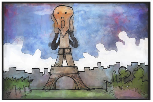 Cartoon: Terror in Paris (medium) by Kostas Koufogiorgos tagged karikatur,koufogiorgos,illustration,cartoon,paris,eiffelturm,schrei,munck,terror,terrorismus,is,isis,islamismus,frankreich,angriff,karikatur,koufogiorgos,illustration,cartoon,paris,eiffelturm,schrei,munck,terror,terrorismus,is,isis,islamismus,frankreich,angriff