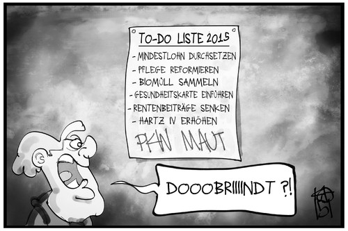 Cartoon: To-do-Liste 2015 (medium) by Kostas Koufogiorgos tagged karikatur,koufogiorgos,illustration,cartoon,2015,to,do,erledigen,liste,merkel,dobrindt,regierung,cdu,csu,maut,politik,karikatur,koufogiorgos,illustration,cartoon,2015,to,do,erledigen,liste,merkel,dobrindt,regierung,cdu,csu,maut,politik