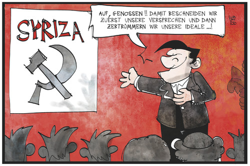 Cartoon: Tsipras erklärt sich (medium) by Kostas Koufogiorgos tagged karikatur,koufogiorgos,illustration,cartoon,tsipras,syriza,hammer,sichel,kommunisten,partei,bündnis,griechenland,parteichef,ideale,wahlversprechen,politik,karikatur,koufogiorgos,illustration,cartoon,tsipras,syriza,hammer,sichel,kommunisten,partei,bündnis,griechenland,parteichef,ideale,wahlversprechen,politik