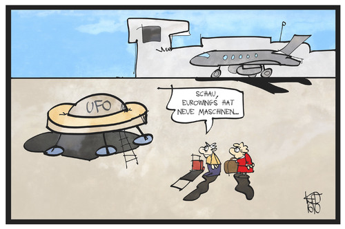 Cartoon: UFO-Streik (medium) by Kostas Koufogiorgos tagged karikatur,koufogiorgos,illustration,cartoon,eurowings,ufo,flugbegleiter,gewerkschaft,passagier,kunde,fluggast,streik,arbeitskampf,karikatur,koufogiorgos,illustration,cartoon,eurowings,ufo,flugbegleiter,gewerkschaft,passagier,kunde,fluggast,streik,arbeitskampf