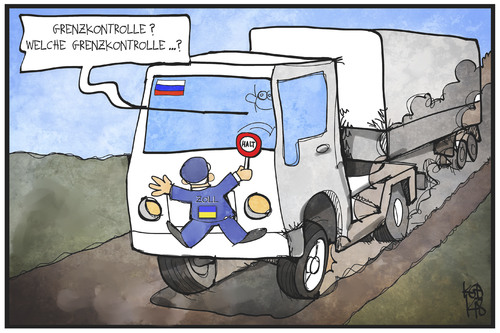 Cartoon: Ukraine-Konflikt (medium) by Kostas Koufogiorgos tagged politik,zoll,lkw,grenze,konflikt,krieg,russland,konvoi,ukraine,cartoon,illustration,koufogiorgos,karikatur,karikatur,koufogiorgos,illustration,cartoon,ukraine,konvoi,russland,krieg,konflikt,grenze,lkw,zoll,politik