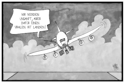 Cartoon: Virale Hitlandung (medium) by Kostas Koufogiorgos tagged karikatur,koufogiorgos,illustrtion,cartoon,xavier,airbus,a380,viral,hit,internet,flugzeug,sturm,seitenwind,unsanft,landung,karikatur,koufogiorgos,illustrtion,cartoon,xavier,airbus,a380,viral,hit,internet,flugzeug,sturm,seitenwind,unsanft,landung