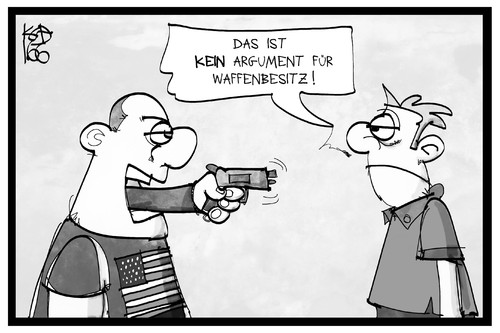 Cartoon: Waffengesetz USA (medium) by Kostas Koufogiorgos tagged karikatur,koufogiorgos,illustration,cartoon,waffengesetz,waffen,usa,argument,schiesserei,orlando,recht,gewalt,kriminalität,karikatur,koufogiorgos,illustration,cartoon,waffengesetz,waffen,usa,argument,schiesserei,orlando,recht,gewalt,kriminalität