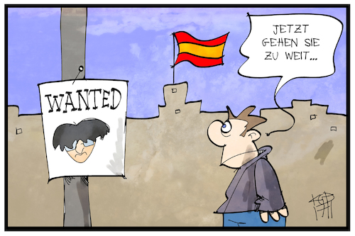 Cartoon: Wanted Puigdemont (medium) by Kostas Koufogiorgos tagged karikatur,koufogiorgos,illustration,cartoon,puigdemont,wanted,eu,europa,haftbefehl,flucht,katalonien,separatismus,suche,spanien,karikatur,koufogiorgos,illustration,cartoon,puigdemont,wanted,eu,europa,haftbefehl,flucht,katalonien,separatismus,suche,spanien