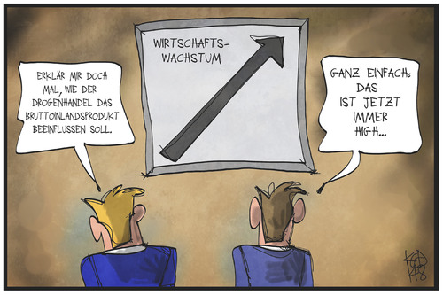Cartoon: Wirtschaftswachstum (medium) by Kostas Koufogiorgos tagged karikatur,koufogiorgos,illustration,cartoon,bip,konjunktur,wachstum,kurve,drogen,high,wirtschaft,berechnung,statistik,karikatur,koufogiorgos,illustration,cartoon,bip,konjunktur,wachstum,kurve,drogen,high,wirtschaft,berechnung,statistik