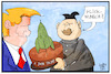 Cartoon: 1 Jahr Trump (small) by Kostas Koufogiorgos tagged karikatur,koufogiorgos,illustration,cartoon,trump,kim,jong,un,glückwunsch,torte,rakete,nuklear,atomwaffen,nordkorea,usa