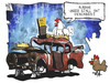 Cartoon: ADAC (small) by Kostas Koufogiorgos tagged illustration,karikatur,cartoon,koufogiorgos,adac,huhn,hühnerstall,preis,autoclub,auto,verkehr