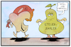 Cartoon: Apple und Birne (small) by Kostas Koufogiorgos tagged karikatur,koufogiorgos,illustration,cartoon,apple,apfel,birnen,steuern,eu,urteil,wirtschaft