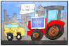 Cartoon: Bauernprotest (small) by Kostas Koufogiorgos tagged karikatur,koufogiorgos,illustration,cartoon,bauern,protest,traktor,suv,blockade,demonstration,trecker,bauer,landwirt