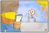 Cartoon: Corona-App (small) by Kostas Koufogiorgos tagged karikatur,koufogiorgos,illustration,cartoon,corona,app,wildwest,angriff,zweikampf,virus,pandemie,technik,smartphone,digitalisierung