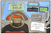 Cartoon: Dashcams (small) by Kostas Koufogiorgos tagged karikatur,koufogiorgos,illustration,cartoon,dashcam,auto,cockpit,bordcomputer,technik,verkehr,strasse,armaturenbrett