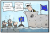Cartoon: Friedensnobelpreis (small) by Kostas Koufogiorgos tagged karikatur,koufogiorgos,illustration,cartoon,tunesien,flüchtlinhe,schiff,meer,rettung,eu,europa,seenot,friedensnobelpreis,gratulation,grenze