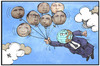 Cartoon: G7-Gipfel (small) by Kostas Koufogiorgos tagged karikatur,koufogiorgos,illustration,cartoon,elmau,g7,gipfel,welt,staatschef,erde,politik,ballon,fliegen,abheben