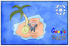 Cartoon: Google Taxes (small) by Kostas Koufogiorgos tagged karikatur,koufogiorgos,illustration,cartoon,google,earth,paradies,insel,steuern,wirtschaft,geld,unternehmen,software,alphabet